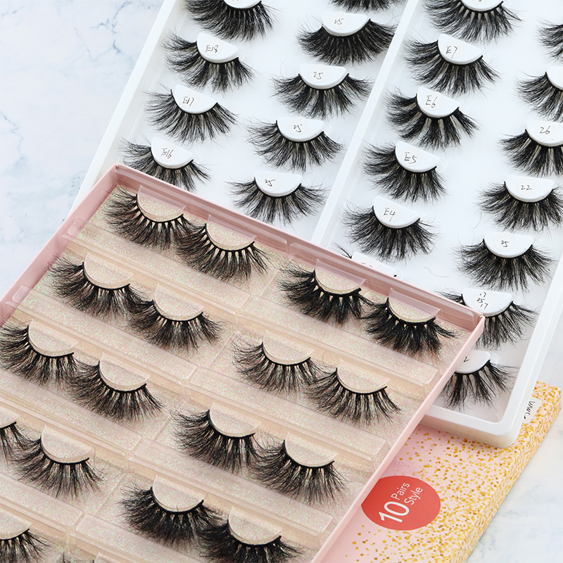 Custom package Private Label 5D mink eyelash wholelsale price soft band fluffy mink eyelash vendor JN