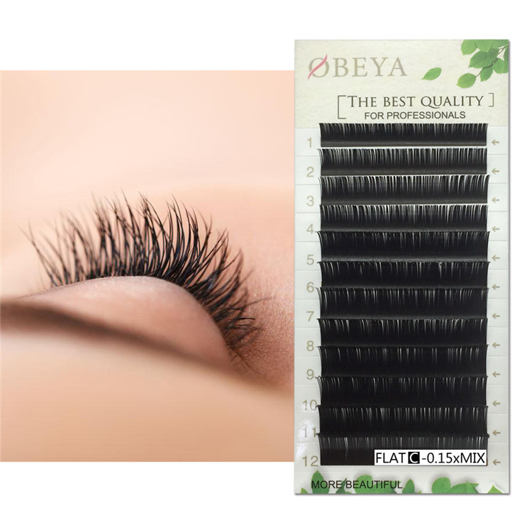 Split Tip Flat Eyelash Extensions Mixed Tray 8-15mm C D curls Thick Softer Individaual Eyelashes FM013